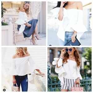 Chicwish White Off The Shoulder Drama Slv Top Sz S